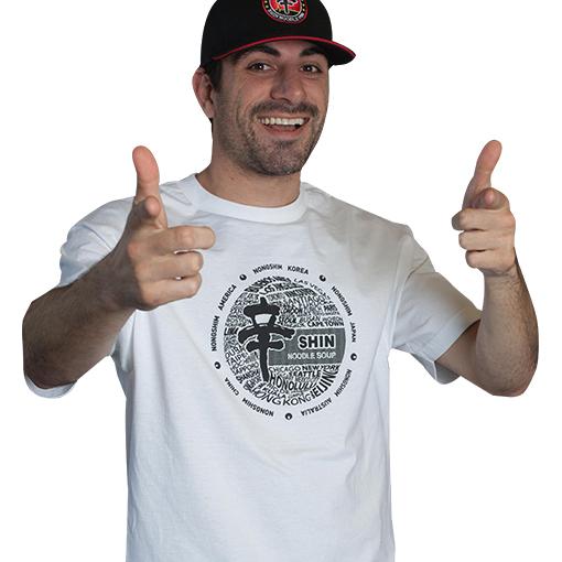 Photo of man wearing Shin T shirt