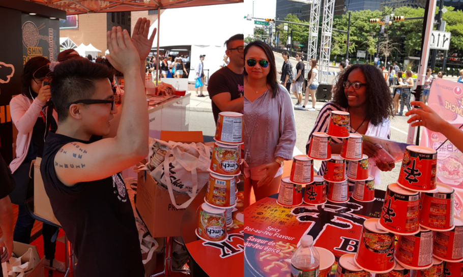 Photo of people stacking Shin Ramyun Cups